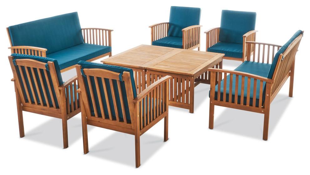 GDF Studio 8-Piece Cape Town Outdoor Acacia Wood Sofa Set, Dark Teal