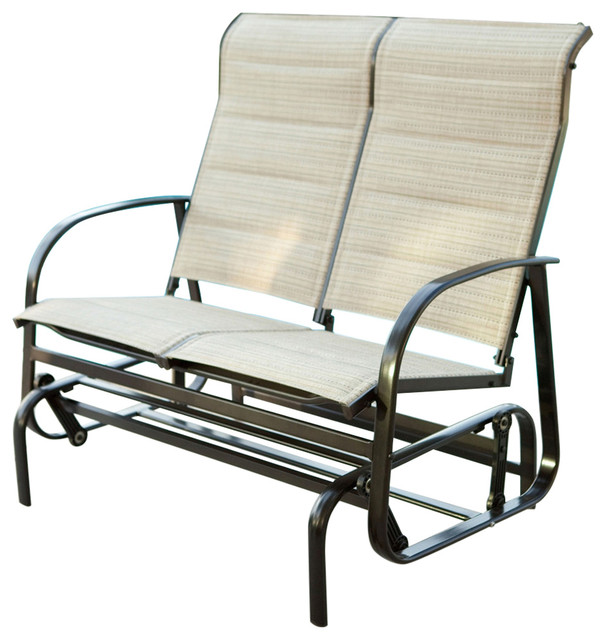 Excellent Outdoor Glider Patio Chair Loveseat With Padded Sling Seats Beach Color Ibusinesslaw Wood Chair Design Ideas Ibusinesslaworg