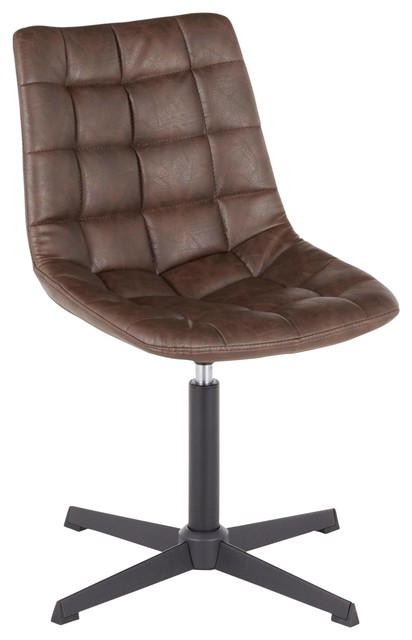 Quad Contemporary Chair, Black Metal and Dark Brown Fabric