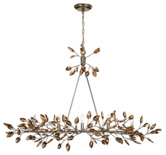 Misthaven Chandelier Silver Leaf With Antique Gold Paint
