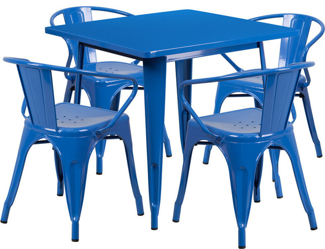 31.5&x27;&x27; Square Metal Indoor/outdoor Table Set With 4-Arm Chairs, Blue.