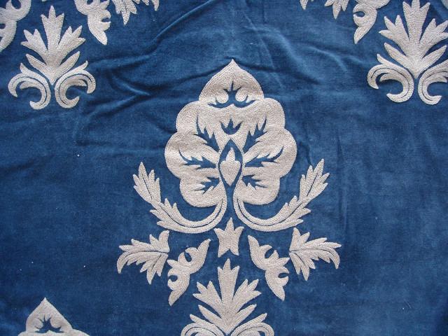 Crewel Fabric Konark White on Indigo Blue Cotton Velvet