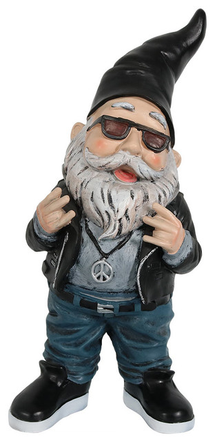 Sunnydaze Randy The Rebel Biker Garden Gnome 14 Tall