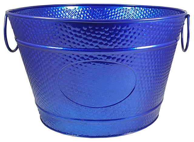 BREKX SeaSide Blue Hillcrest Hammered Galvanized Beverage Bucket