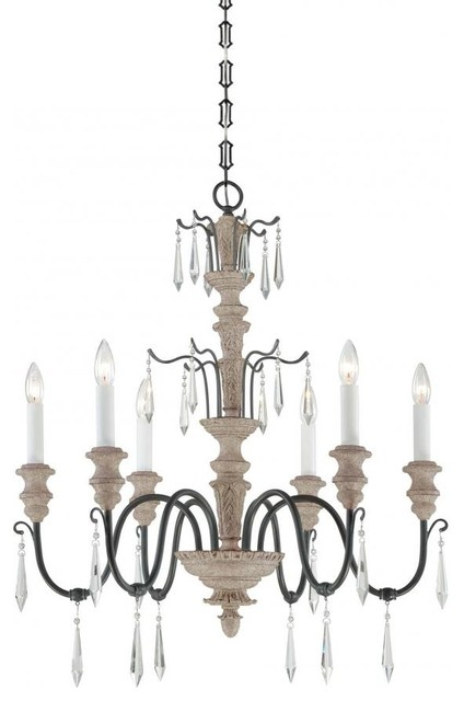 Six Light Distressed White Wood And Iron Up Chandelier