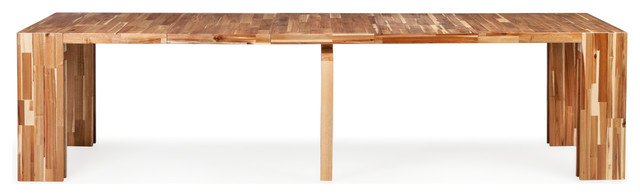 Modern Hardwood Extendable Table, Beige And Brown.
