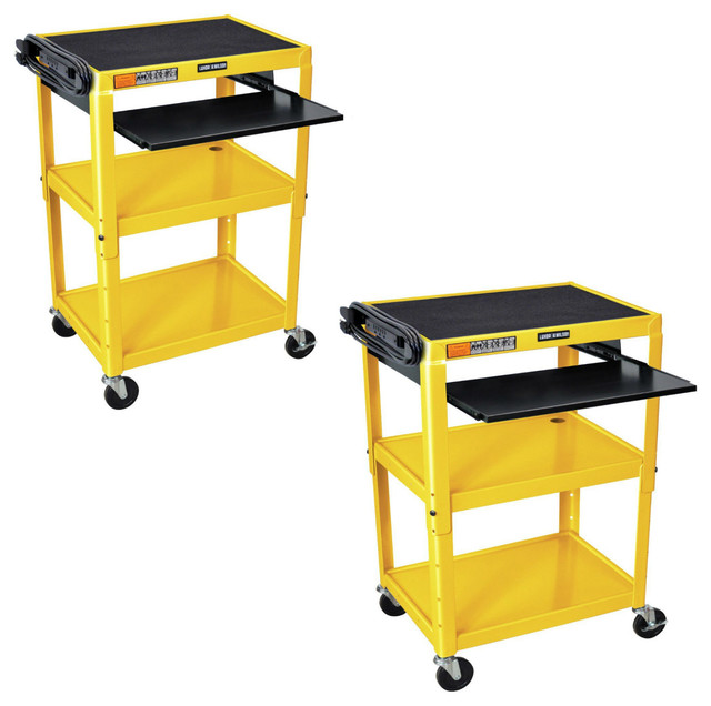 Rolling Multipurpose Height Adjustable Steel Av Utility Cart Contemporary Office Carts And Stands By Virventures