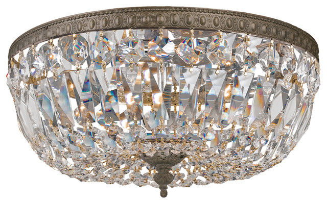 Crystorama Richmond 3 Light Bronze Clear Hand Cut Flush Mount.