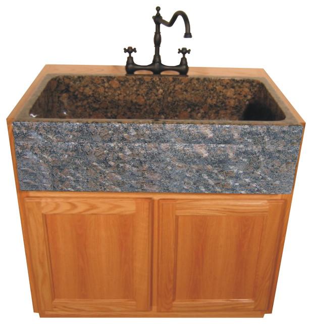 Bella Toscana Farm Basin, Baltic Brown Granite Traditional Bathroom Sinks