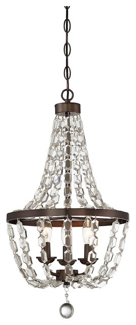 3-Light Mini Chandelier, Oiled Burnished Bronze With Clear Crystal