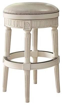 Ashley Crenlam Tall Upholstered Swivel Stool Antique White Finish