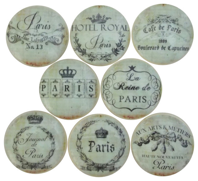"""Paris Address Label Cabinet Knobs, 8-Piece Set, 2"""""""