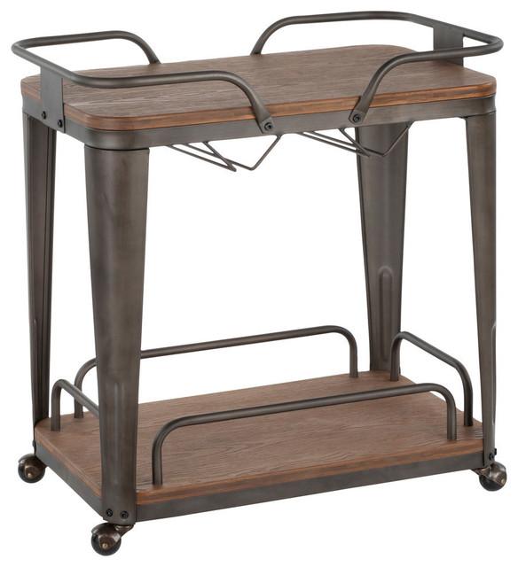 Oregon Bar Cart, Antique Metal, Espresso Bamboo by LumiSource