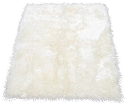 faux fur area rug ivory large
