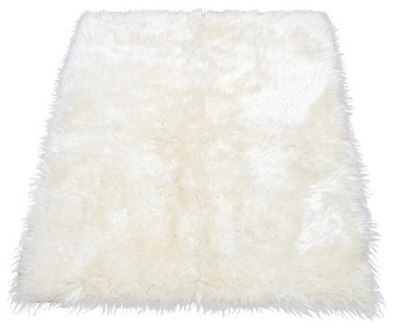 Faux Fur Area Rug Ivory 4 10x6 8 Large