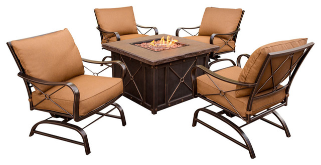 Summer Nights 5-Piece Fire Pit Lounge Set.