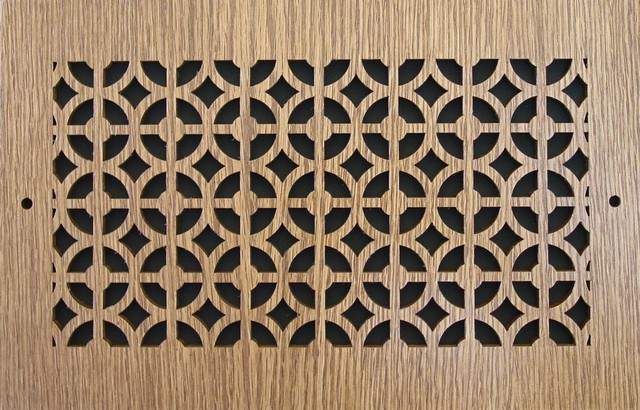 "Pattern Cut Air Supply Grille, Pattern C, 12""x6"", Oak Veneer"