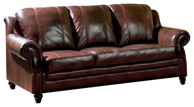 Coaster Princeton Leather Sofa Traditional Sofas