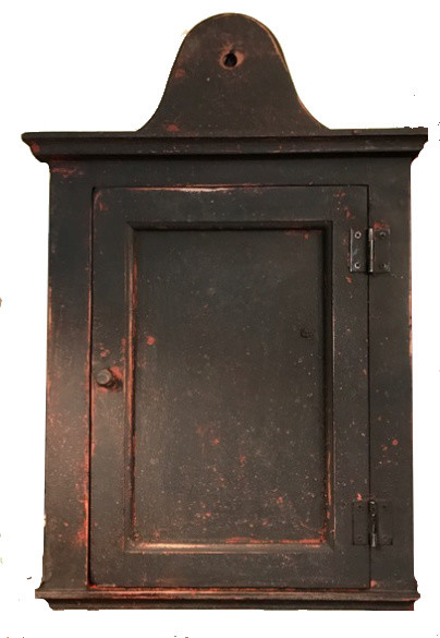 Hand Made Hanging Spice Cupboard (de), Black Over Red.
