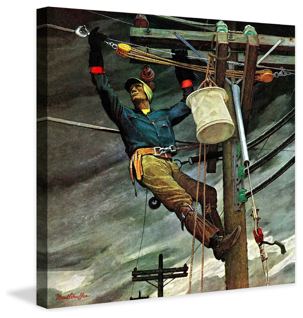 Telephone Lineman Painting Print On Canvas By Mead Schaeffer.