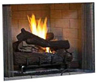 "Superior 50"" Paneled VF Gas Firebox With White Herringbone Brick Liner"