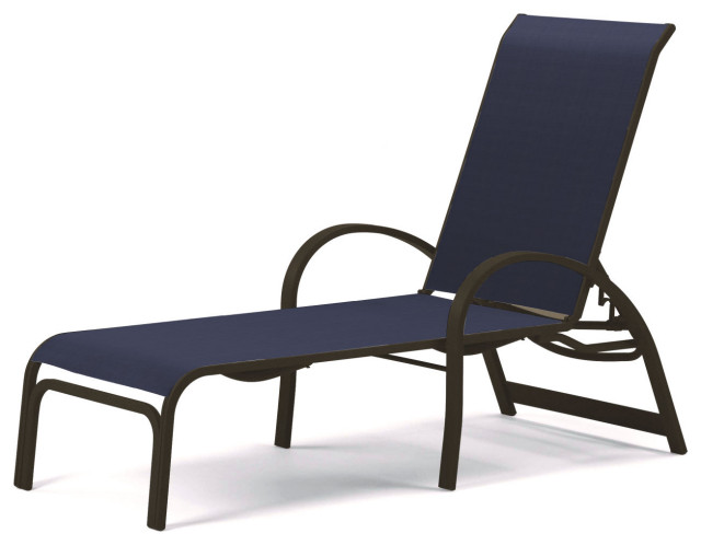 Aruba II Sling 4-Position Adjustable Chaise, Textured Beachwood, Navy
