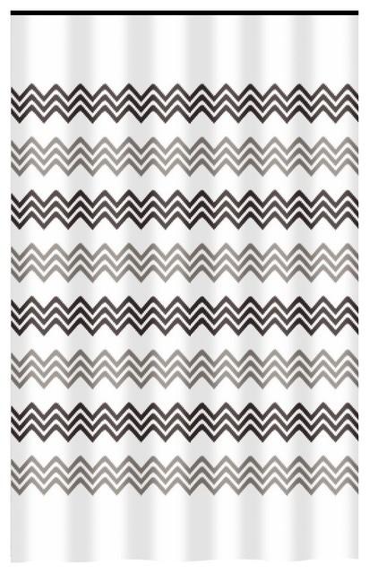 Extra Long Shower Curtain 72x 78 Gamma Small Chevron Stitch Print Fabric
