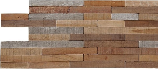 "23.62""x7.87"" Kayu Lofts Teak Wall Tiles, Set Of 10."