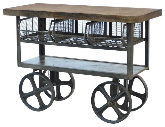 Industrial Iron Trolley Industrial Kitchen Islands And