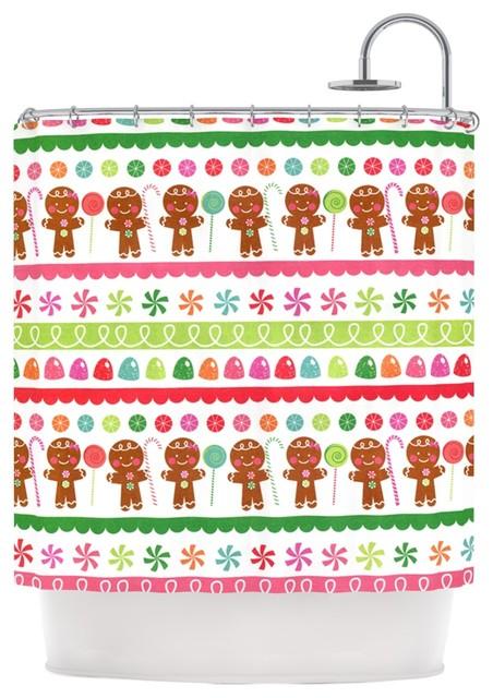 Heidi Jennings Gumdrop Buttons Gingerbread Shower Curtain