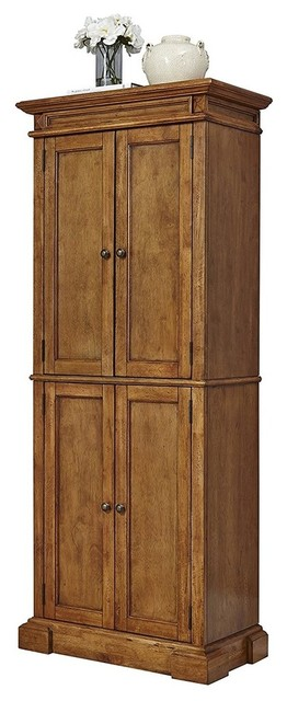 Modern Pantry Storage Cabinet, Solid Wood With Diamond Shaped Carving Details