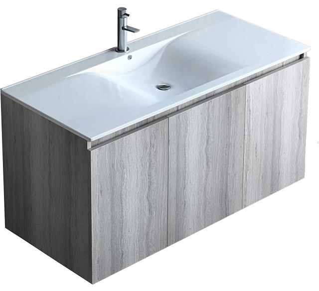 40 Inch Floating Vanity Sink Set Grey Oak Finish With