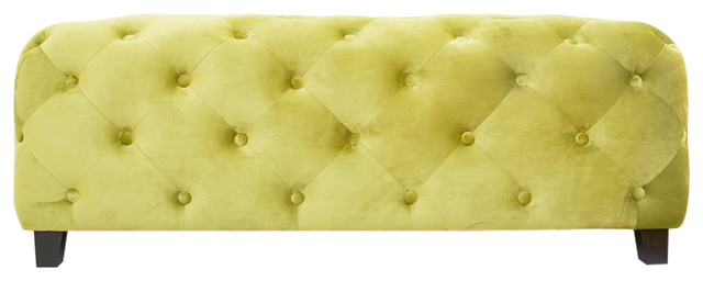 Green Tufted Bench.