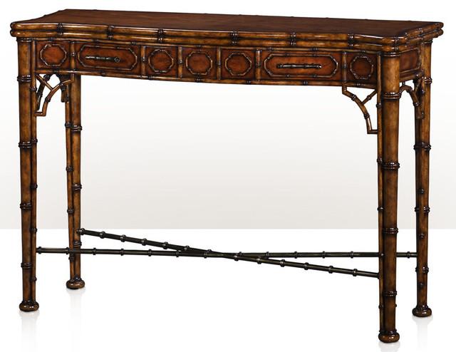 Elegant Louis J Solomon Faux Bamboo Console Table Transitional Console Tables
