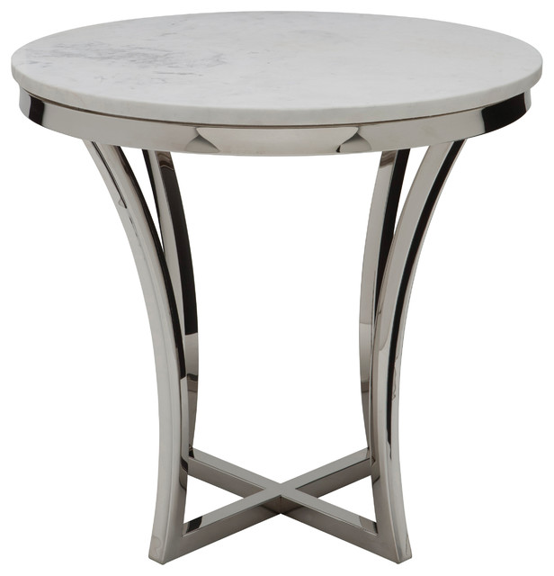 Nuevoliving Aurora Side Table Silver Side Tables And