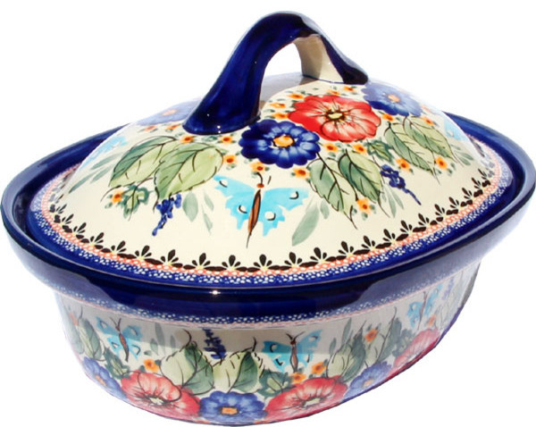 Polish Pottery Oval Casserole Dish Large With Lid, Pattern Number: 149 Art.
