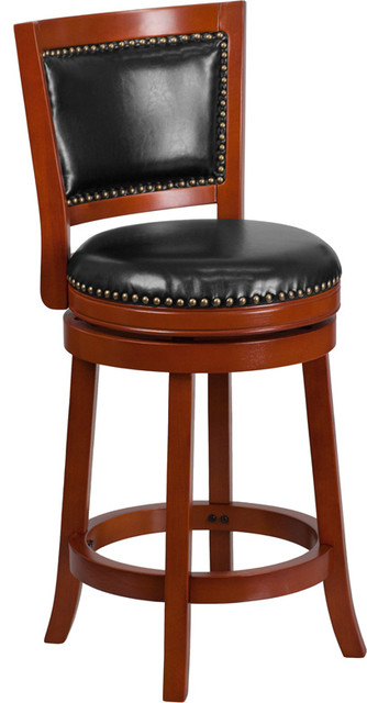26 high light cherry wood counter h stool with black leather swivel seat transitional bar. Black Bedroom Furniture Sets. Home Design Ideas