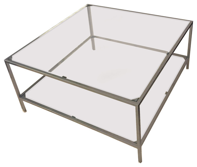Five Fork Studio Cube Coffee Table With Glass Top And Shelf Coffee Tables Houzz