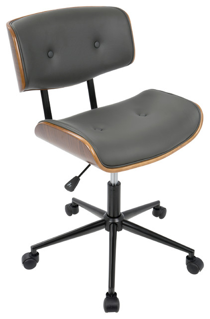 Lombardi Height Adj. Office Mid-Century Modern Chair, Walnut and Gray  contemporary-