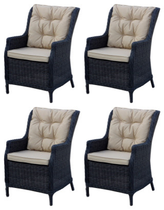 Darlee Valencia Resin Wicker Chairs With Seat Back Cushions Set Of