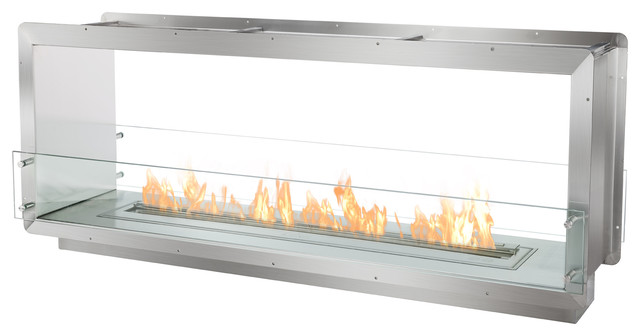 Double Sided Bioethanol Fireplace Insert Contemporary Indoor Fireplaces By Ignis