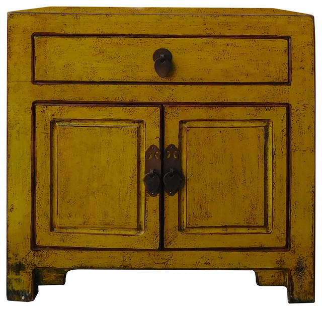 Chinese Oriental Mustard Yellow Green Small Cabinet - Eclectic - Side ...