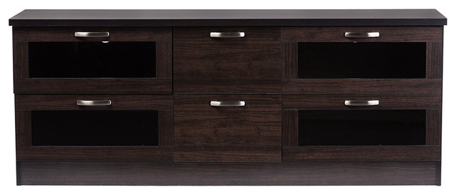 Adelino 63 Inches Wood Tv Cabinet With 4 Glass Doors And 2 Drawers