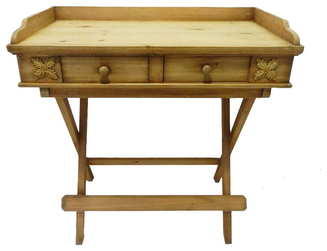 Foldable Wooden Serving Tray Butlers Stand