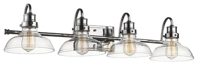 Millennium Lighting 4-Light 35 Bath Vanity Light With Glasss, Chrome.