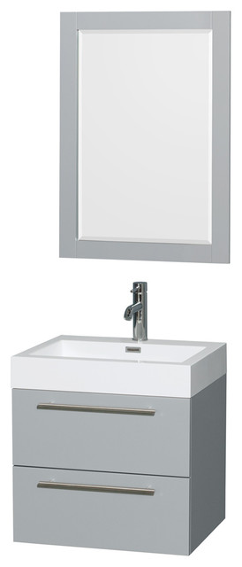"""Amare 24"""" Dove Gray Single Vanity, Acrylic Resin Top, Integrated Sink, 24"""""""
