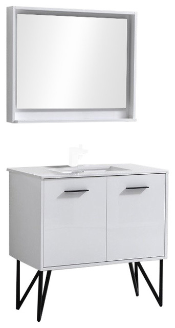 Kubebath Bosco 36 Modern Bathroom Vanity With Quartz Countertop And Mirror.
