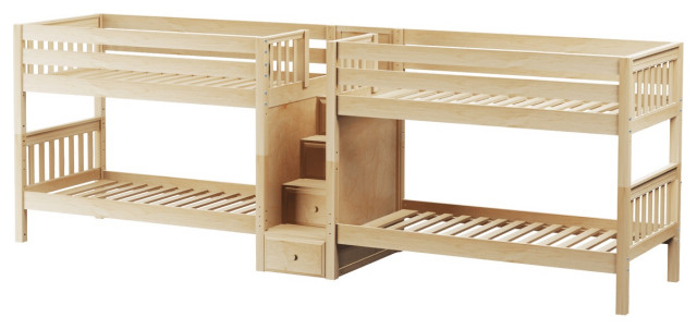 Melrose Quadruple Bunk Bed With Stairs Contemporary Bunk Beds By Totally Kids Fun Furniture Toys