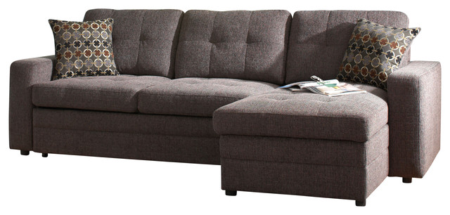 Coaster Gus Chenille Sectional Sofa, Charcoal/Black