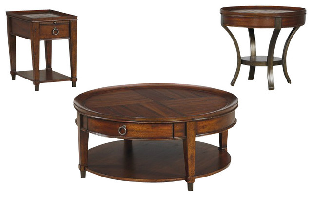 Hammary Sunset Valley 3 Piece Round Cocktail Table Set Traditional Coffee Table Sets By